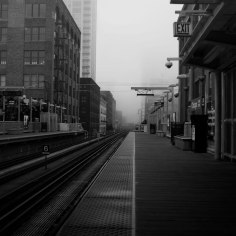 EL Station in Fog, Chicago