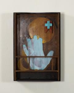 "Alias | Found box, basswood, mahogany, acrylic | 10 1/4""w x 15""h x 3 1/4""d | © Dave Roth 2019"