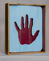 "The Hand of the Maker, 2019 | Found box, pine, acrylic | 10 1/4""w x 12 1/4""h x 2 1/2""d"