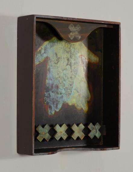 "Safe Harbor | Found box, pine, mahogany, acrylic | 10 1/4""w x 12 1/2""h x 2 7/8""d | © Dave Roth 2019"