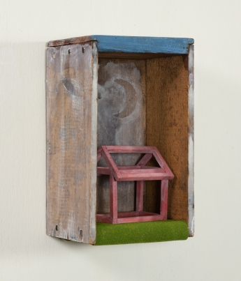 "The Illusion of Home | Found box, basswood, acrylic | 5 3/4""w x 10""h x 5 1/8""d 
