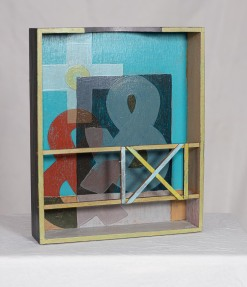 "The Power of Yes, 2014 | Found box, mahogany, pine, acrylic | 10 3/8""w x 12 5/8""h x 2 5/8""d 